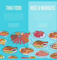 Thai cuisine flyers with asian dishes vector