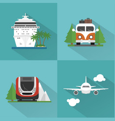 Travel transport set modern concept design flat vector
