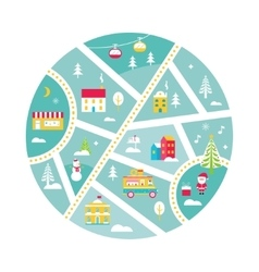 Winter holidays town map with snow santa fair vector
