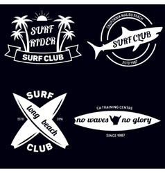 Surfing related labels set vintage vector image