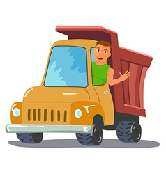 Cartoon truck driver character waving from truck vector