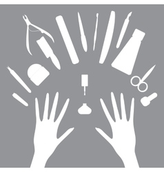 Set icons of manicure tools vector