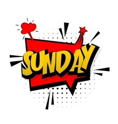 Comic red sound effects pop art sunday week end vector