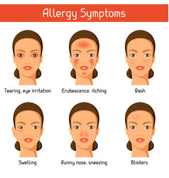 allergy symptoms for medical vector image