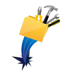 yellow file with tools and hole icon vector image