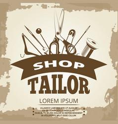Vintage tailor shop label design vector