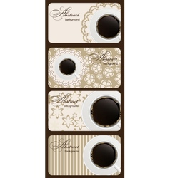 Set of nature coffee gift cards vector image