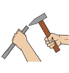 Hands holding a hammer and chisel vector