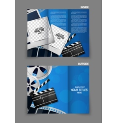 Cinema tri-fold brochure design vector