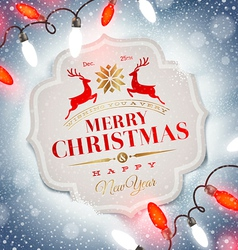 Christmas card with holiday type design vector