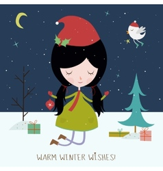 Winter holiday background or card vector