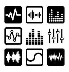 Soundwave music icons set on white background vector