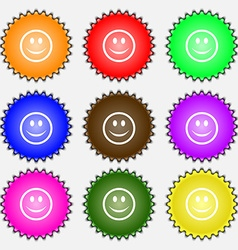 Smile happy face icon sign a set of nine different vector