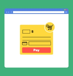 Flat browser window with form payment vector