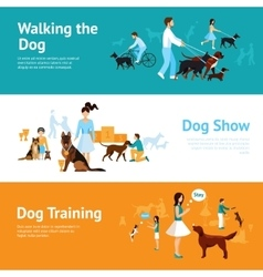 People with dogs banner set vector