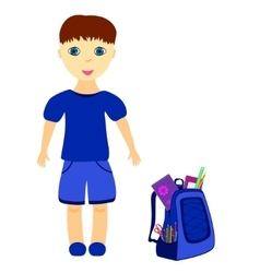 Schoolboy with backpack vector