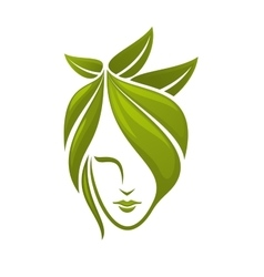 Woman face with green leaves vector