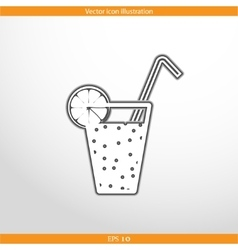 Juice glass with lemon vector