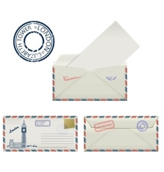 Set of envelopes from london with a painted the vector