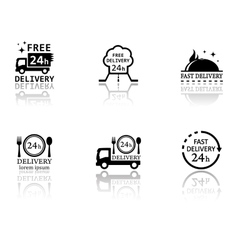 Set of food delivery icons vector