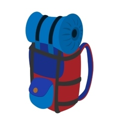Travel backpack cartoon icon vector