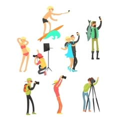 Creative people posing while photographer taking vector