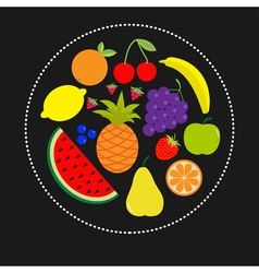 Juicy ripe fruit and berry set banana cherry vector