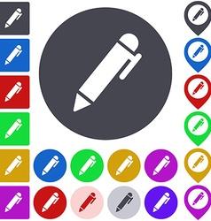 Color pen icon set vector