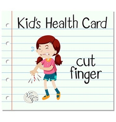 Health card with girl cutting finger vector