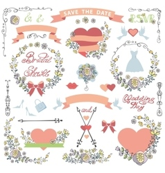 Wedding bridal shower decor setdoodle florawers vector