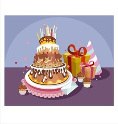 Birthday cake with gifts vector