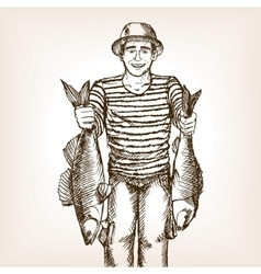 Fisherman with fish sketch vector