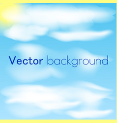Blue sky with clouds and sun sky background vector