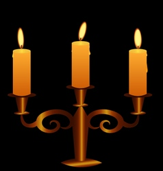 Bronze candlestick with lightening candles vector
