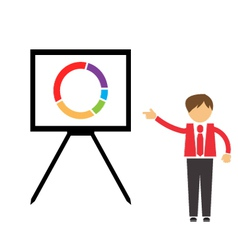 Businessman points on the board with the schedule vector image