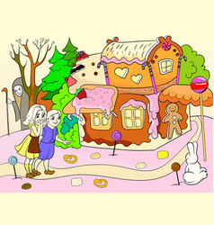 childlike color story scene with pair of children vector image vector image
