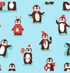 Christmas cute penguin character cartoon vector