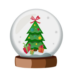 christmas globe with a christmas tree vector image