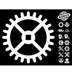 Clock gear icon with tools bonus vector