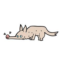 comic cartoon dog sniffing floor vector image vector image