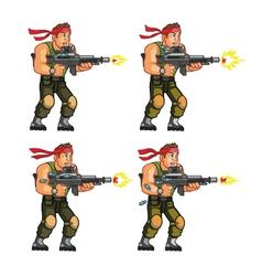 Commando shooting game sprite vector