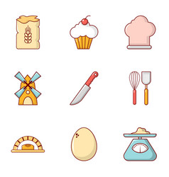 cooking tools icons set flat style vector image