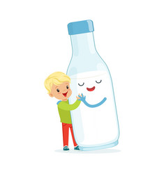 Cute blonde little boy and funny milk bottle with vector
