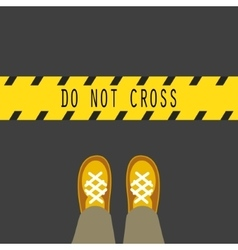 Do not cross the line road sign vector