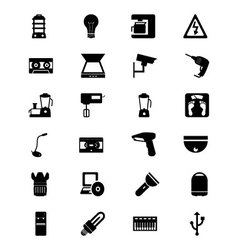 Electronics solid icons 4 vector