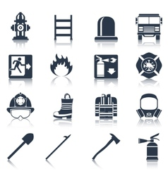 Firefighter icons black vector