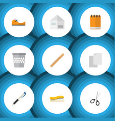 Flat icon equipment set of pencil sticky vector