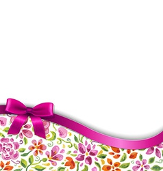 Flowers card with pink ribbon vector
