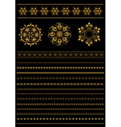 Gold patterns and collection gold patterned border vector