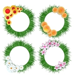 Grass wreath with flower bouquet set vector